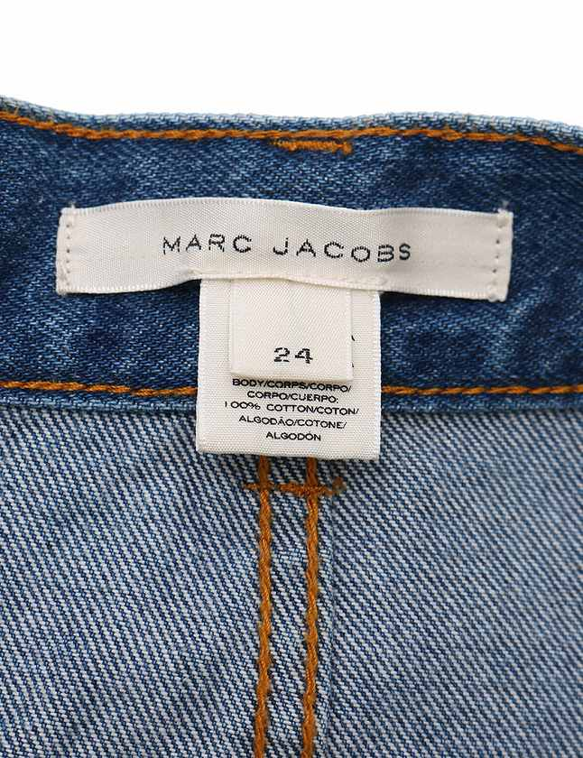 マークジェイコブス MARC JACOBS スカート デニム ハイウエスト ミッキー 青 ブルー マルチカラー ボトムス ミニ丈 マルチアイコン 刺繍 タイト 24インチ コットン100% 綿 M4005434 レディース