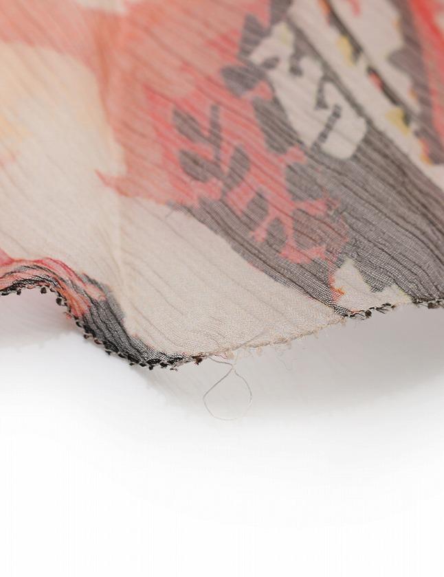 エポカ EPOCA スカート オレンジ マルチカラー M ボトムス ミニ丈 フレア 総柄 38 シルク100% フリル レディース