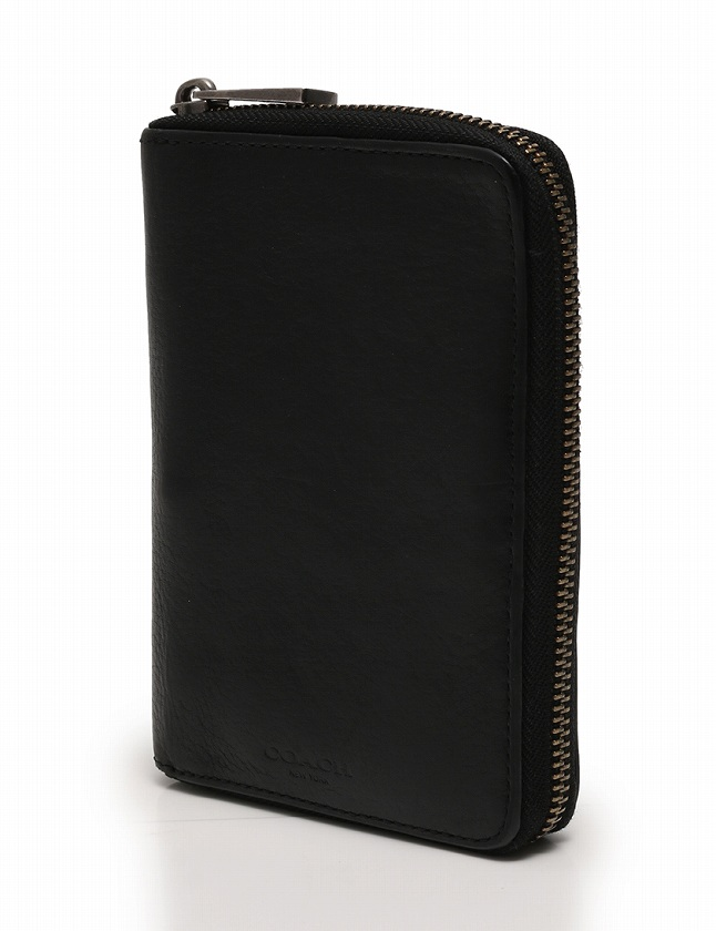 reputable site f5eab b6f22 コーチ COACH 財布 二つ折り ラウンドファスナー コンパクトウォレット 黒 ブラック 小物 レザー メンズ