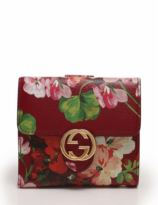 new concept 73b2b d4fc2 グッチ GUCCI 財布 二つ折り Wホック GGブルームス フレンチフラップウォレット 赤 レッド 小物 花柄 レザー 869676 箱付き  レディース