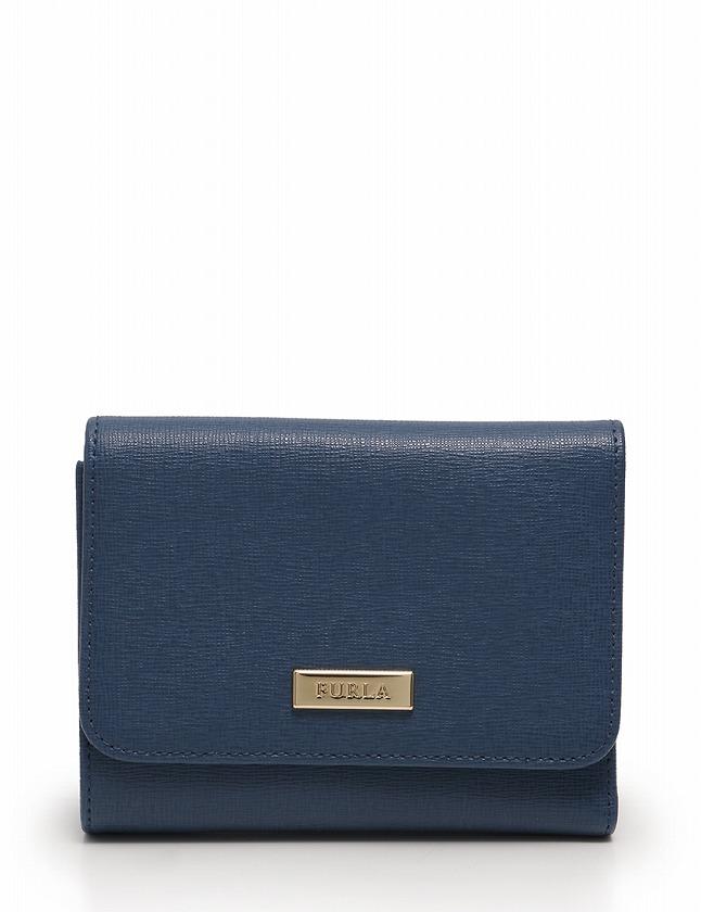 finest selection b7bce 7e25f フルラ FURLA 財布 三つ折り 青 ブルー 小物 レザー 箱 保存袋付き レディース