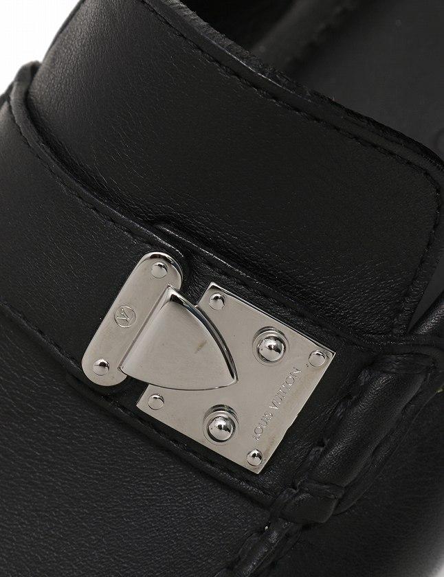 ルイヴィトン LOUIS VUITTON ドライビングシューズ スリッポン 黒 ブラック シルバー 26cm シューズ 7 レザー メンズ