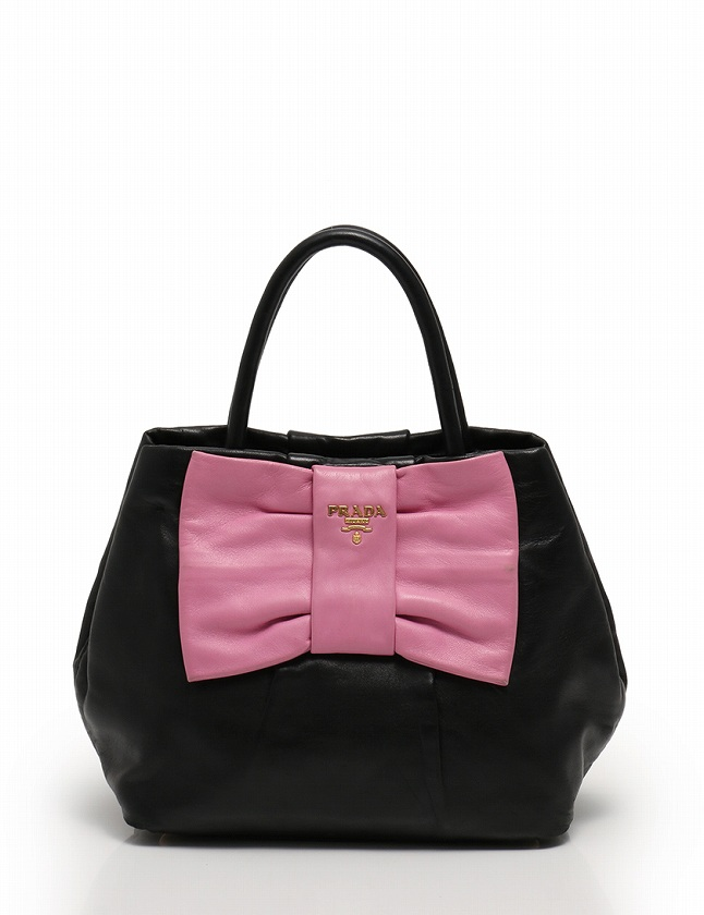 c2f8d4595751 プラダ PRADA ハンドバッグ ショルダーバッグ 黒 ブラック ピンク レザー リボンモチーフ 保存袋付き 2WAY レディース