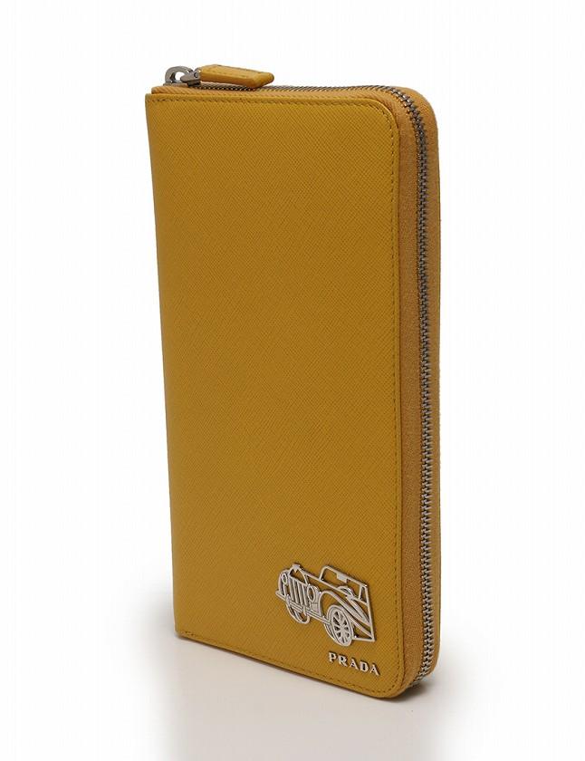 a54c30c7fa58 プラダ PRADA 長財布 トラベルウォレット ラウンドファスナー 黄色 イエロー 小物 レザー TRAVEL 2M1188 鉛筆 箱 ギャラ付き  レディース