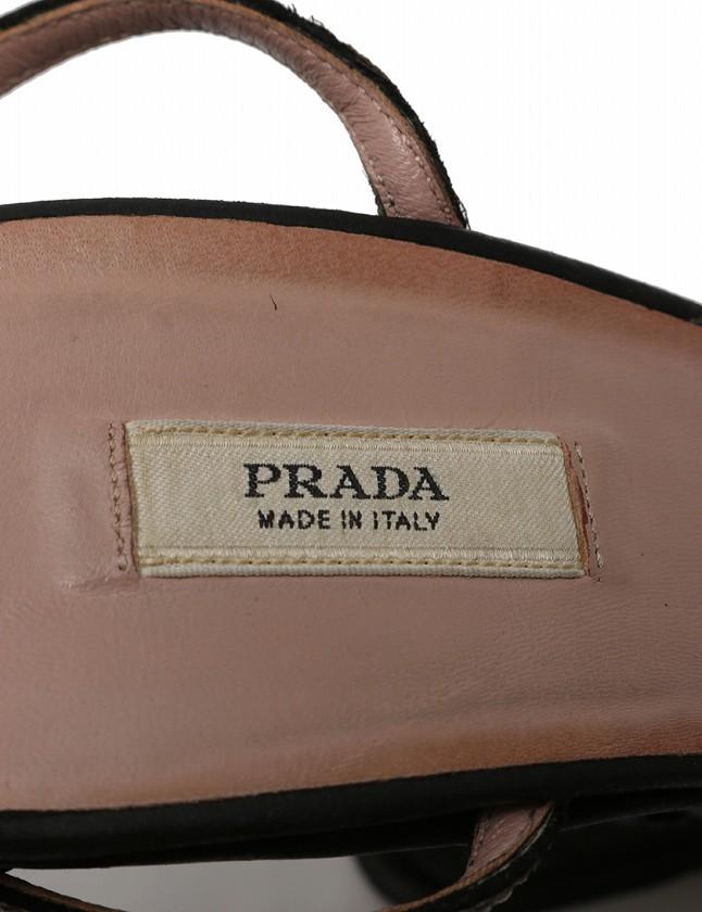 プラダ PRADA サンダル ウェッジソール 黒 23.5cm シューズ ストラップ ビーズ 36.5 レザー レディース
