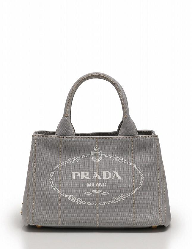 f1b5f312c41d プラダ PRADA トートバッグ ショルダーバッグ ミニカナパ グレー キャンバス 保存袋付き 2WAY レディース