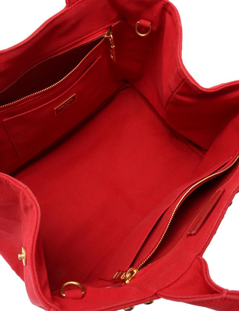 プラダ PRADA トートバッグ ショルダーバッグ カナパ 赤 レッド キャンバス ビジュー B2642O 保存袋 ギャラ付き 2WAY レディース