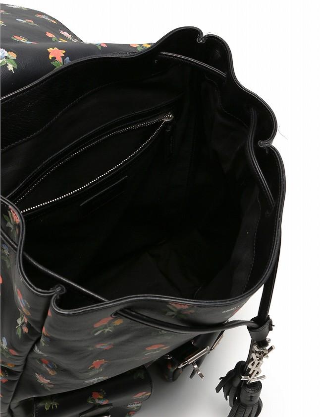 サンローラン パリ SAINT LAURENT PARIS バックパック リュック 黒 ブラック マルチカラー フラワープリント レザー 415195 レディース