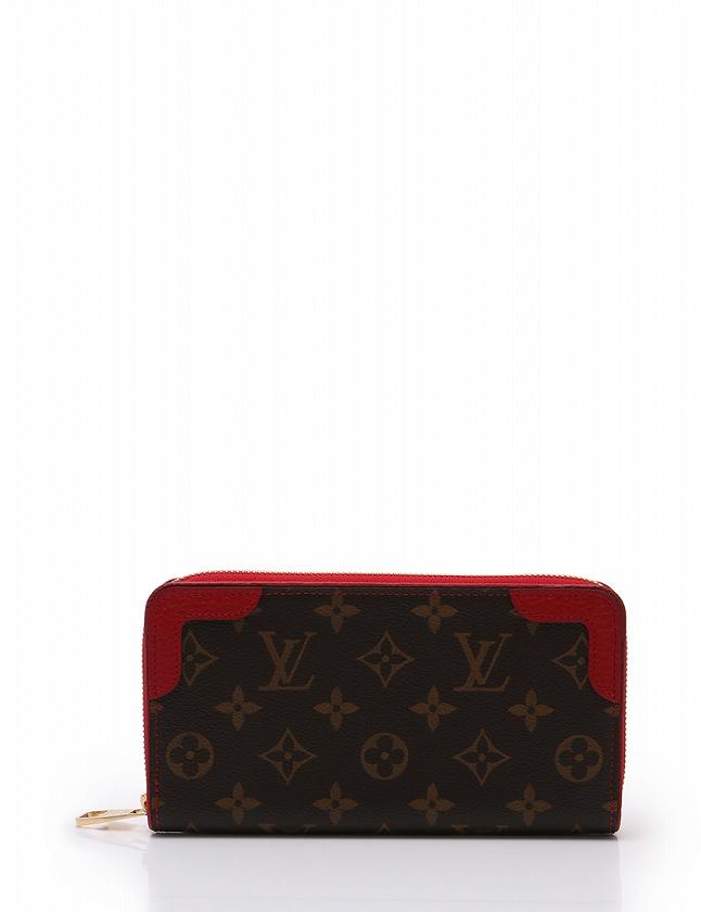ルイヴィトン LOUIS VUITTON 長財布 ジッピーウォレット レティーロ ラウンドファスナー モノグラム 茶色 ブラウン スリーズ 赤 小物  PVC レザー M61854 保存袋付き
