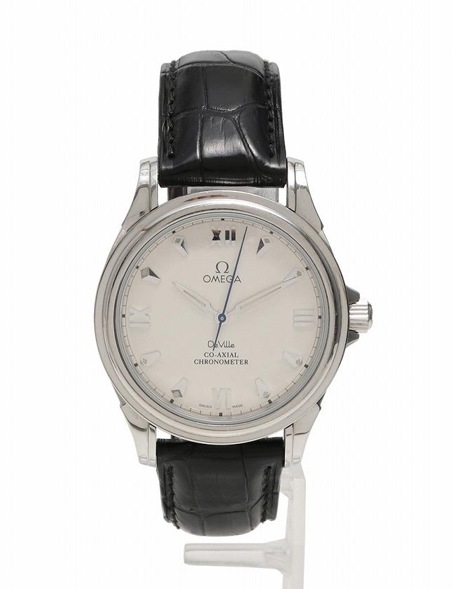on sale 73de6 bea07 オメガ OMEGA 腕時計 デビル コーアクシャル シルバー 黒 自動巻き SS アリゲーター サファイアクリスタル 4831.32.31 箱 保存袋  ギャラ付き メンズ