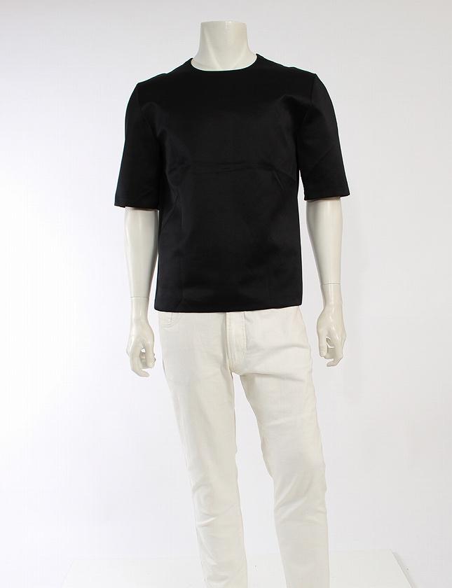 online store 82fc2 b7cd1 ディオールオム Dior HOMME Tシャツ カットソー サテン 黒 ブラック トップス 五分袖 無地 丸首 M メンズ