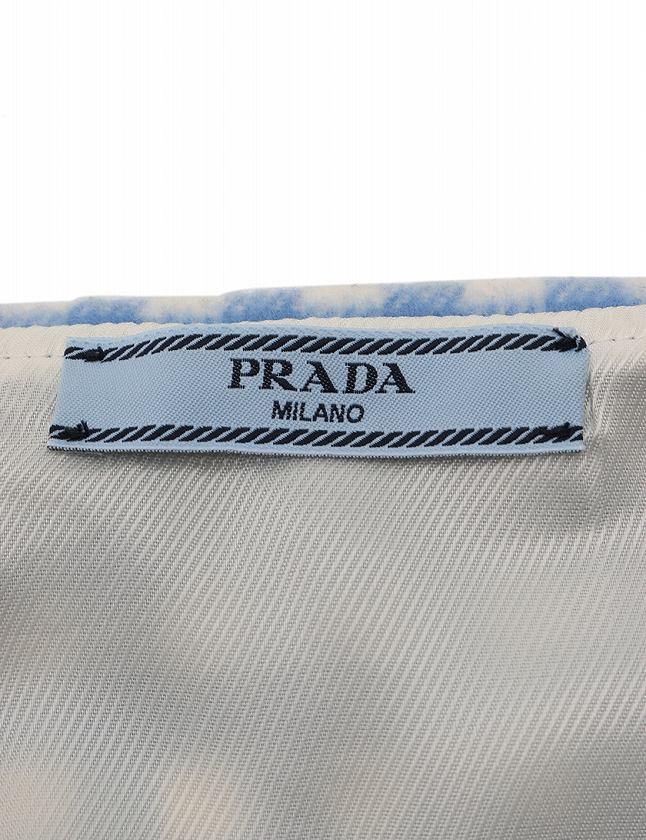 5ad20e5dd350 ... プラダ PRADA スカート 水色 白 M ボトムス ミニ丈 台形 ギンガム チェック 42 ウール100%
