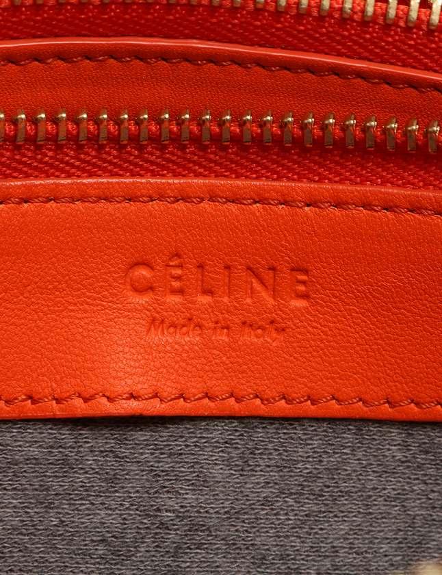セリーヌ CELINE ショルダーバッグ ポシェット トリオ オレンジ レザー 保存袋付き レディース