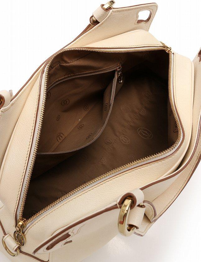 カルティエ Cartier ハンドバッグ ショルダーバッグ マルチェロ アイボリー 白 レザー 保存袋付き 2WAY レディース