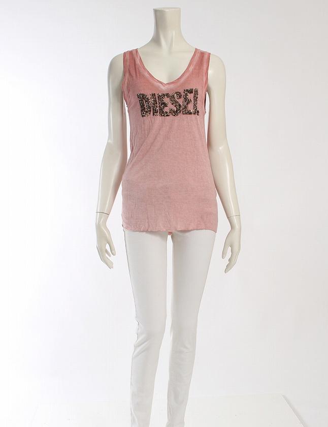 ディーゼル DIESEL タンクトップ カットソー ピンク トップス ノースリーブ ラウンドネック ロゴ刺繍 XS レーヨン100% レディース