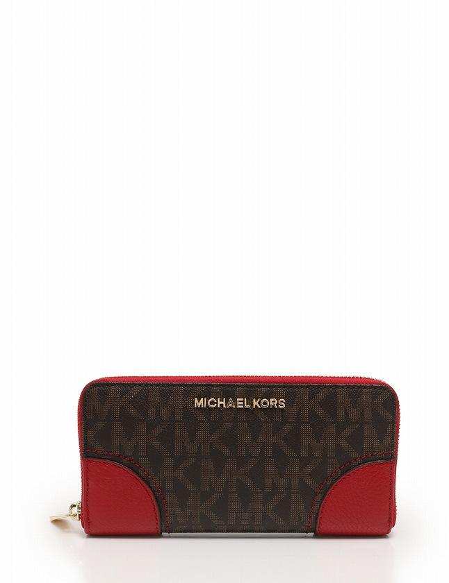 super popular a155f e7416 マイケルコース MICHAEL KORS 長財布 ラウンドファスナー ダークブラウン 茶色 赤 小物 PVC レザー HATTIE レディース