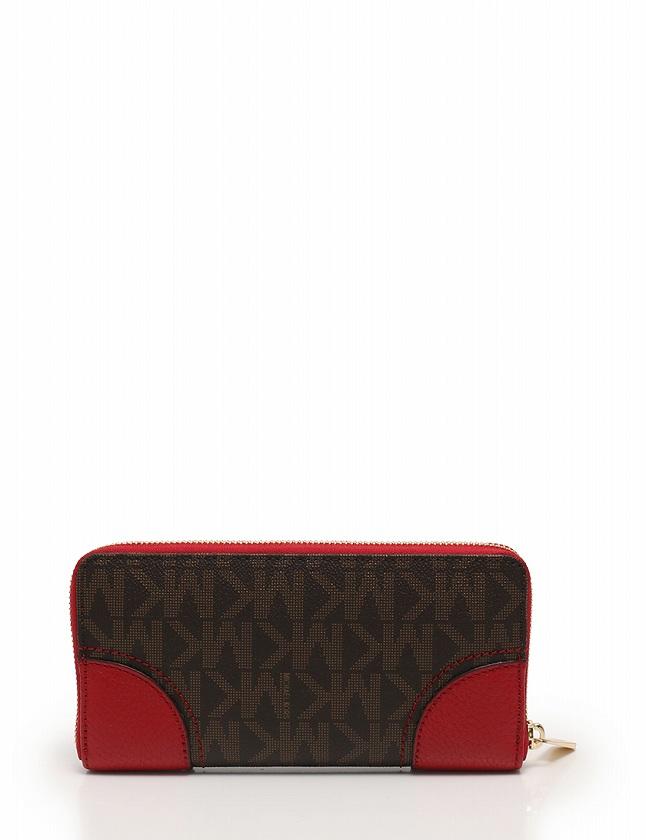 super popular e7446 23387 マイケルコース MICHAEL KORS 長財布 ラウンドファスナー ダークブラウン 茶色 赤 小物 PVC レザー HATTIE レディース