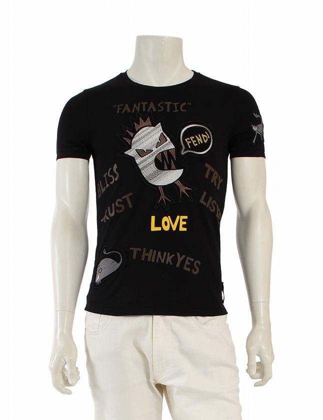 low priced 1ac27 3a9cf フェンディ FENDI Tシャツ カットソー ブラックジャージー 黒 マルチカラー S トップス 半袖 プリント 丸首 44 コットン100% 綿  レーヨン100% FY0682SJYF0QA1 メンズ