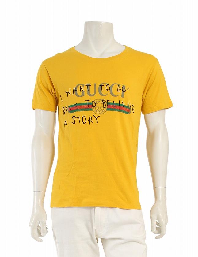 2eea35c6703c グッチ GUCCI Tシャツ カットソー 黄色 イエロー トップス 半袖 ココキャピタン プリント 丸首 XS コットン100% 綿 2017AW  メンズ