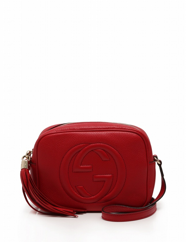 competitive price 1a72e a2630 グッチ GUCCI ショルダーバッグ ポシェット ソーホー 赤 レッド レザー フリンジ 308364 保存袋付き レディース