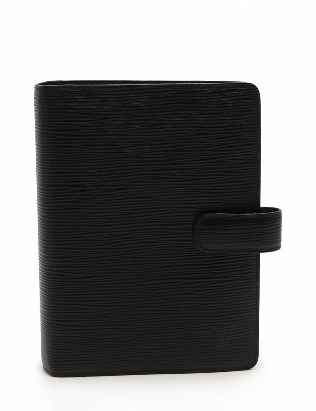 huge sale 7bd5f 18ef9 ルイヴィトン LOUIS VUITTON 手帳カバー アジェンダ MM エピ ノワール 黒 ブラック 小物 ステーショナリー レザー R20042  レフィル付き メンズ レディース