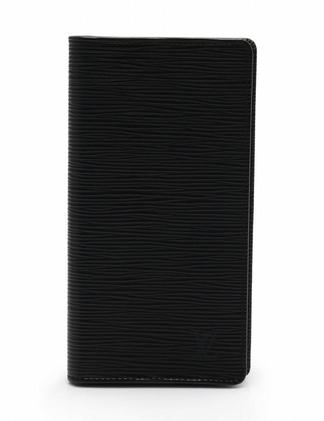 new concept 1fcf2 ab379 ルイヴィトン LOUIS VUITTON 札入れ 長財布 ポルトカルトクレディ 円 二つ折り エピ ノワール 黒 小物 レザー M63212 メンズ