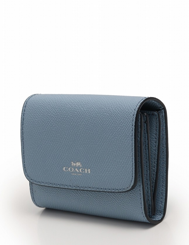 buy popular ee0e3 abe24 コーチ COACH 財布 二つ折り 水色 ライトブルー 小物 レザー F54843 レディース