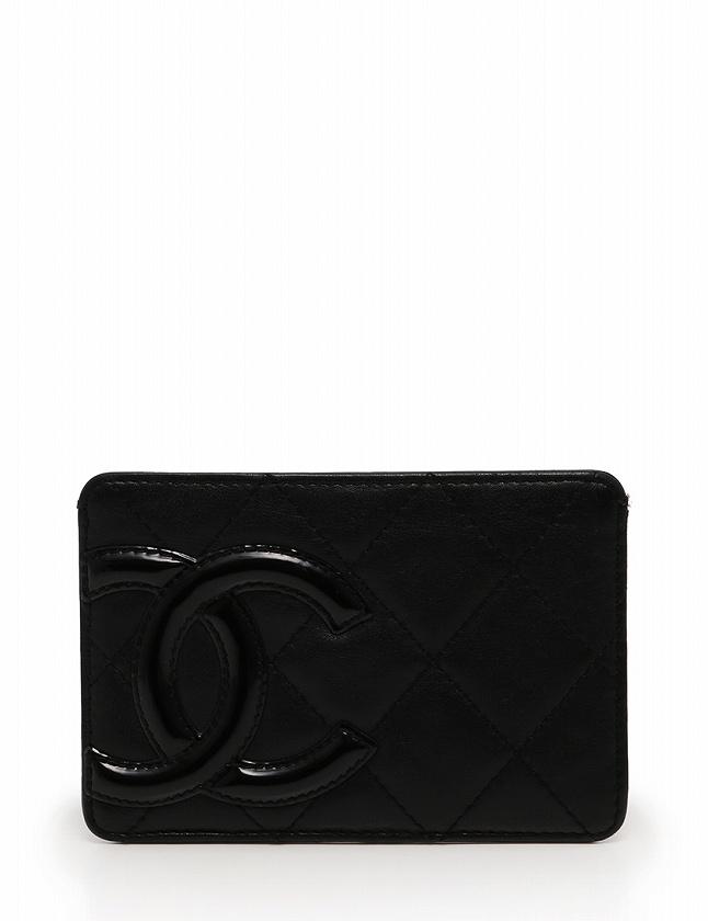 02f6d09772fd シャネル CHANEL カードケース パスケース カンボンライン ココマーク 黒 ブラック 小物 ラムレザー エナメル シリアルシール付き レディース