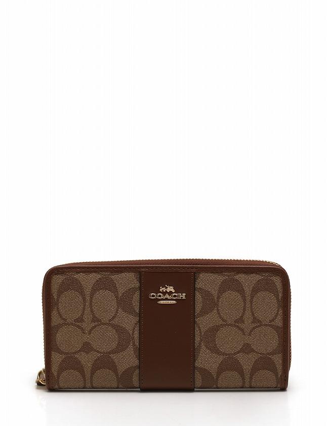 low priced 928a3 9d72d コーチ COACH 長財布 ヘリテージ シグネチャー ラウンドファスナー 茶色 ブラウン 小物 PVC レザー F54630 レディース