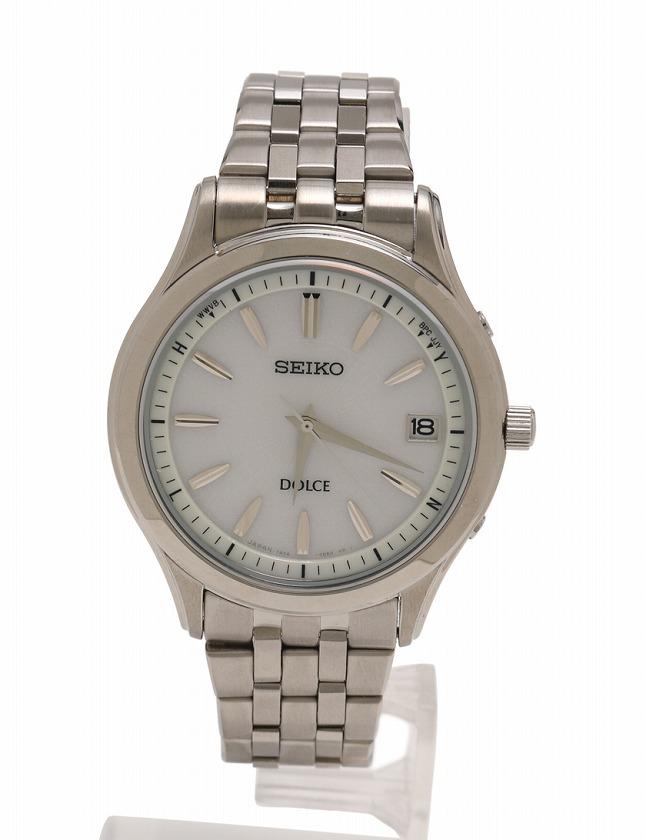 best service 7b7b1 0d9db セイコー SEIKO 腕時計 ドルチェ シルバー 白文字盤 ソーラー電波 SS SADZ123 箱 取扱説明書 コマ付き メンズ