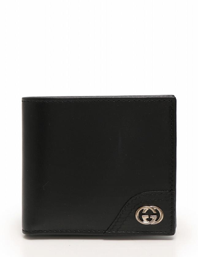 best service 9fcad c0967 グッチ GUCCI 財布 二つ折り インターロッキングG 黒 ブラック 小物 レザー 181671 メンズ