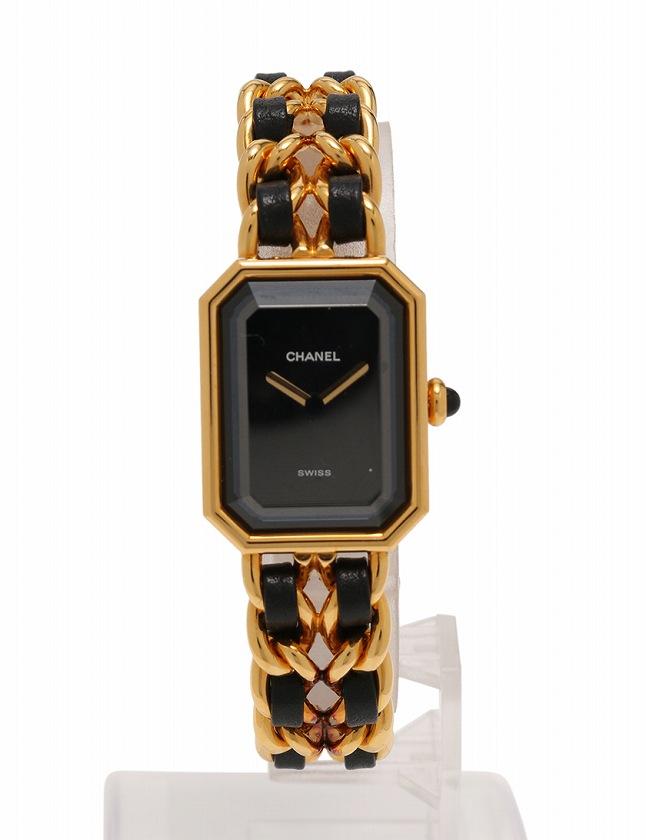 innovative design 8979f 005c4 シャネル CHANEL 腕時計 プルミエール M ゴールド 黒 クオーツ SS レザー H0001 レディース