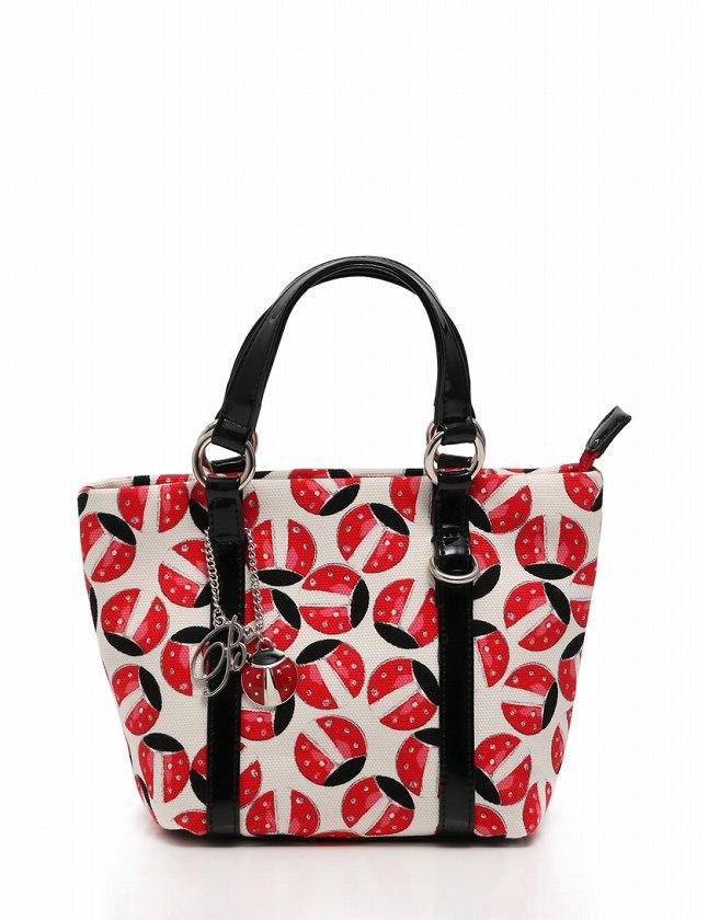 585af712bc0c アンナモリナーリ ANNA MOLINARI ハンドバッグ トートバッグ 白 黒 赤 てんとう虫 キャンバス エナメル 保存袋 チャーム付き レディース