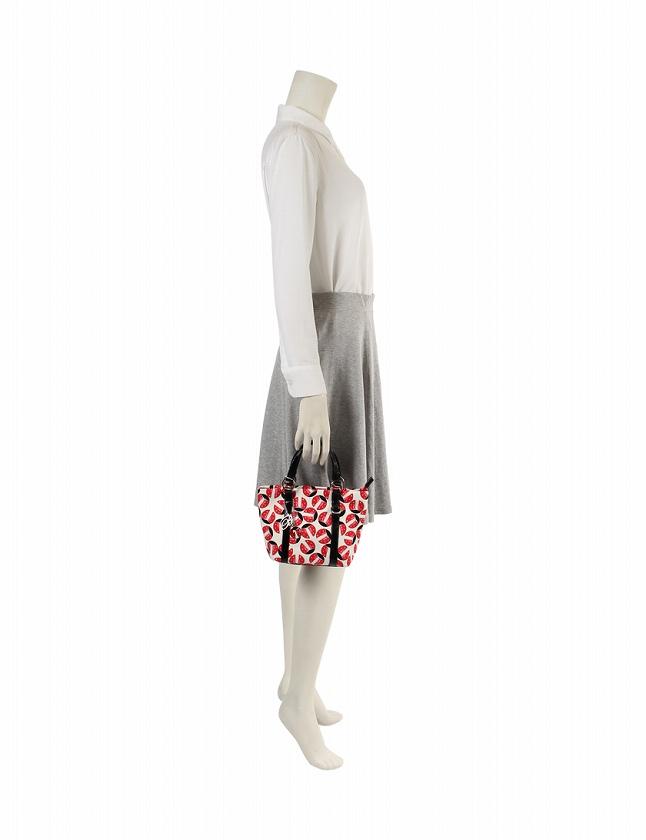 a82831fb9d41 ... アンナモリナーリ ANNA MOLINARI ハンドバッグ トートバッグ 白 黒 赤 てんとう虫 キャンバス エナメル 保存袋