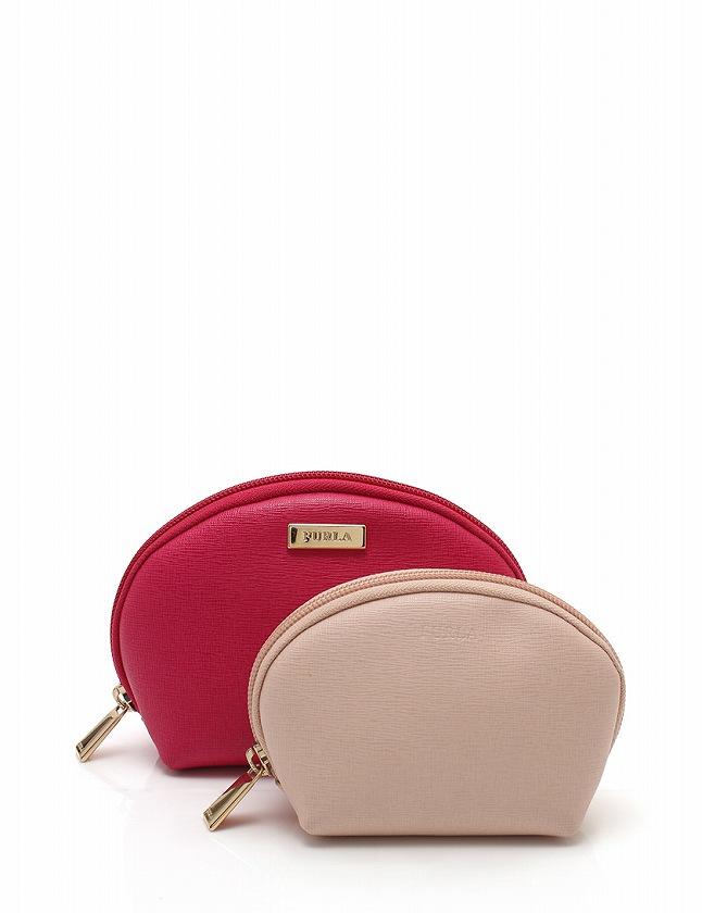 97f0c1834972 フルラ FURLA コスメポーチ 2点セット ピンクベージュ ピンク 小物 レザー 保存袋付き レディース