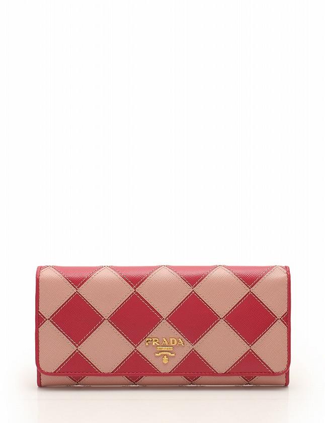 0d7275143b7d プラダ PRADA 長財布 二つ折り ピンク 小物 サフィアーノレザー SAFFIANO ROMBI 1M1132 箱 ギャラ付き レディース