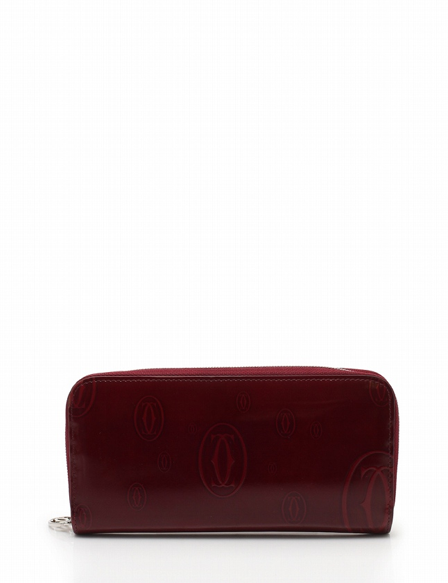 c997ec144dfd カルティエ Cartier 長財布 ハッピーバースデー ラウンドファスナー ボルドー 赤 小物 エナメルレザー L3001283 箱 保存袋付き  レディース