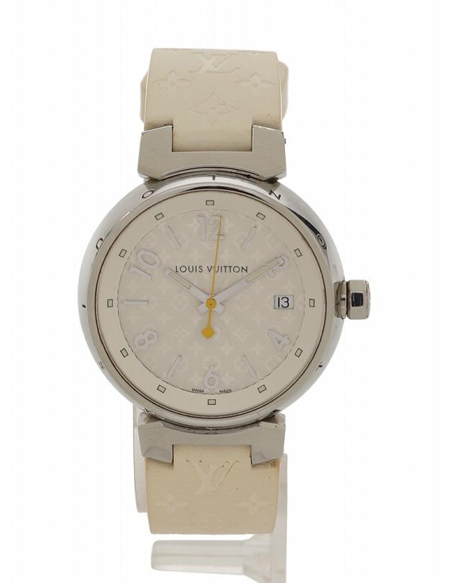 timeless design e0475 ae9ce ルイヴィトン LOUIS VUITTON 腕時計 タンブールホログラム ストラップ 白 ホワイト シルバー クオーツ SS ラバー Q1313 箱  ケース付き レディース