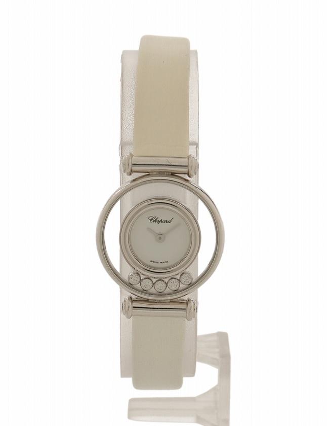 4ae3a921f6 ショパール chopard 腕時計 ハッピーダイヤモンド ホワイトゴールド 白 クオーツ K18WG 9Pダイヤ レザー 20/4780 箱  ケース付き レディース