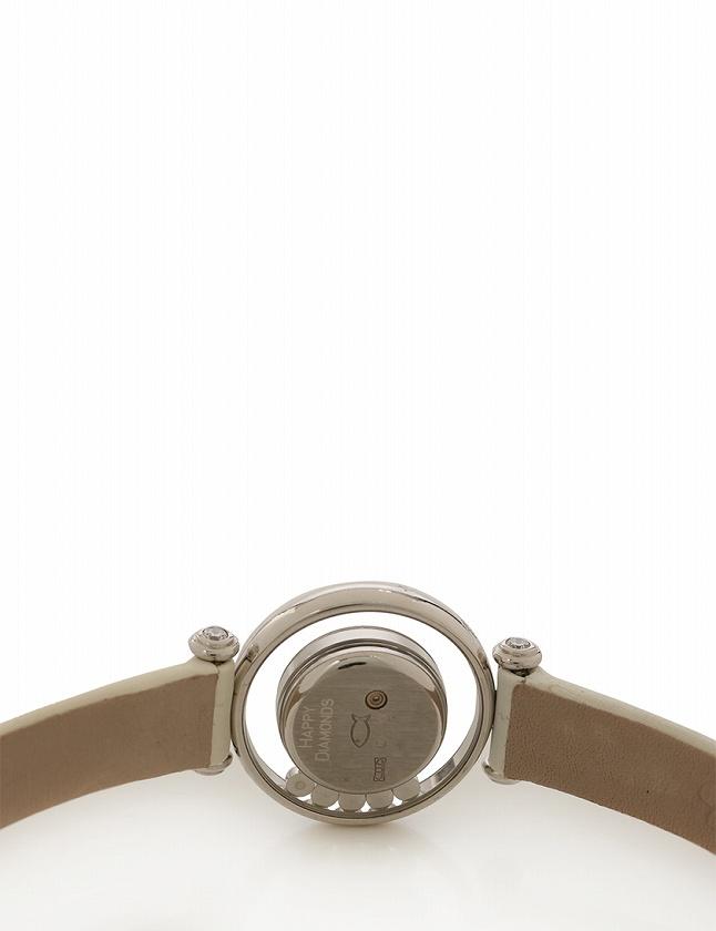 48cd061ac8 ショパール chopard 腕時計 ハッピーダイヤモンド ホワイトゴールド 白 クオーツ K18WG 9Pダイヤ レザー 20/4780 ...