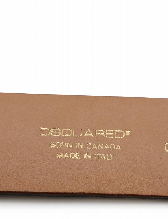 ディースクエアード DSQUARED2 ベルト 革ベルト ベージュ ダークブラウン 小物 総柄 ハラコ レザー レディース