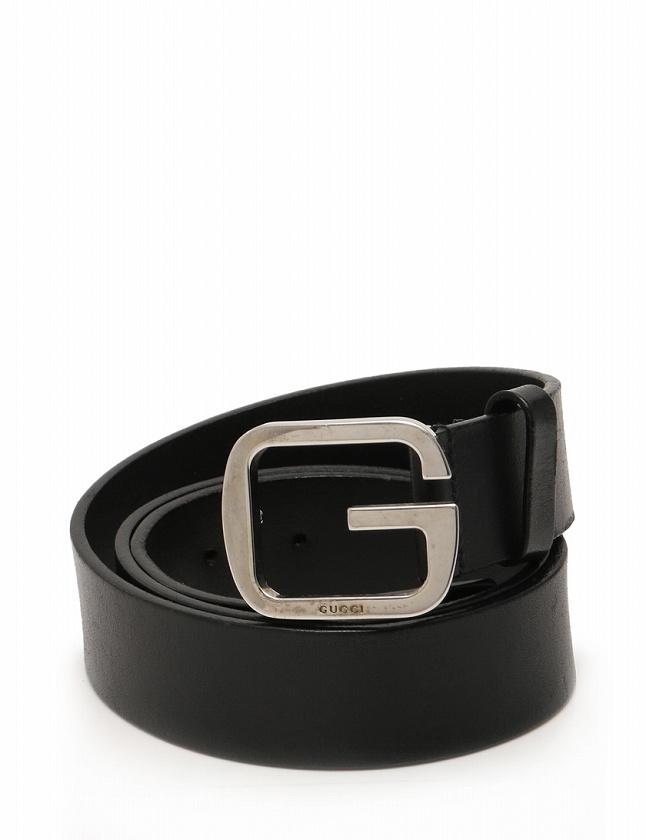 グッチ GUCCI ベルト 革ベルト Gバックル 黒 ブラック シルバー 小物 レザー 162931 メンズ