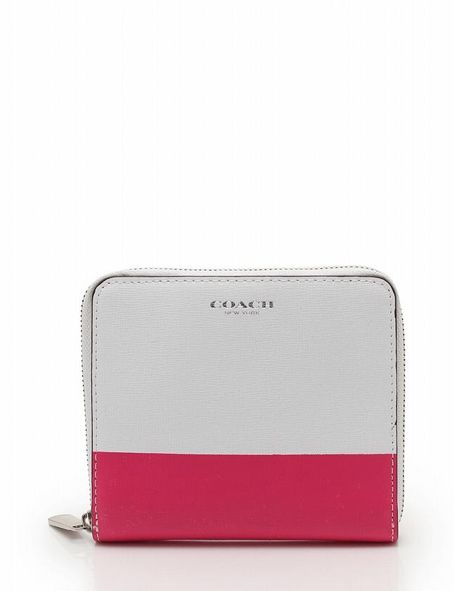 buy online fe2b8 96e11 コーチ COACH 財布 二つ折り ラウンドファスナー コンパクト 白 ピンク バイカラー 小物 レザー レディース