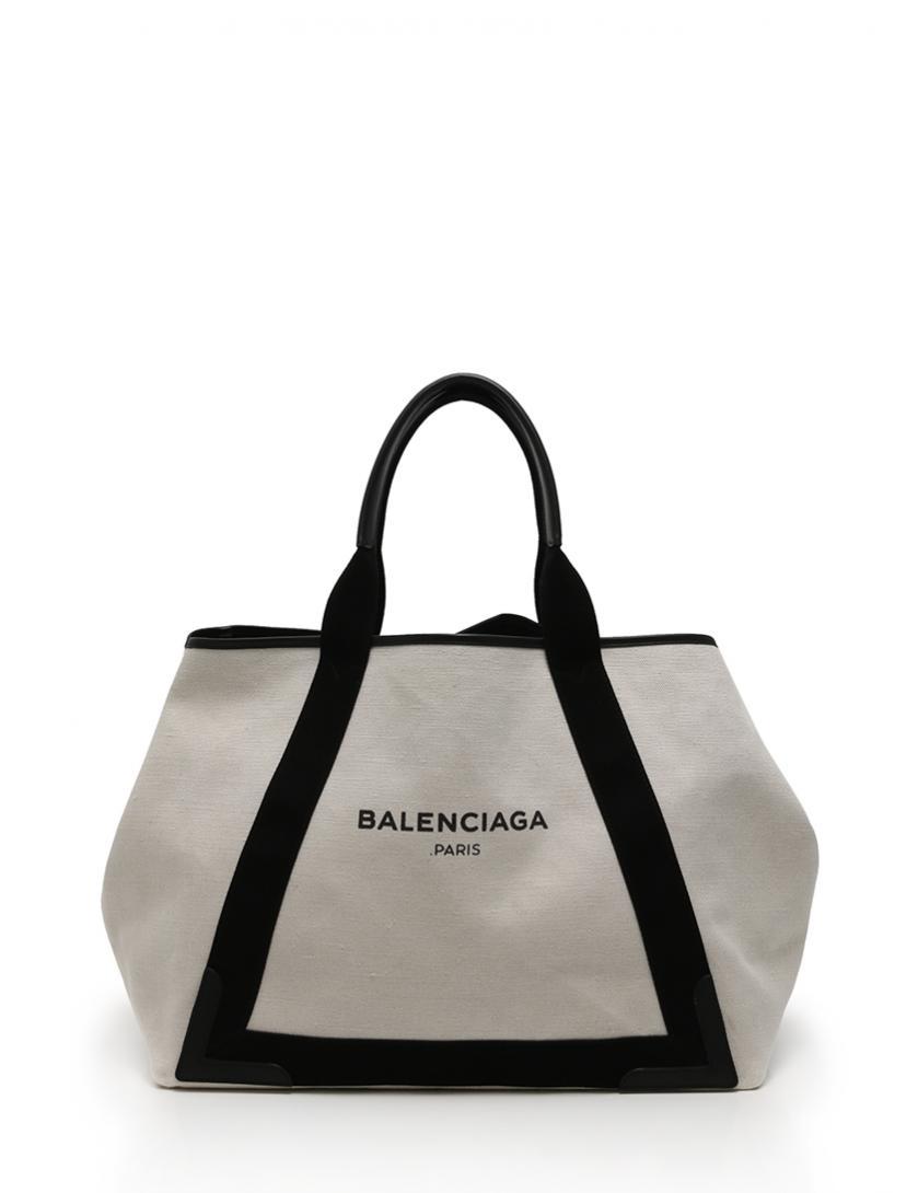 best service ab9c4 c4350 バレンシアガ BALENCIAGA トートバッグ ネイビーカバ M アイボリー 白 黒 キャンバス レザー 339936 保存袋 ポーチ付き メンズ  レディース