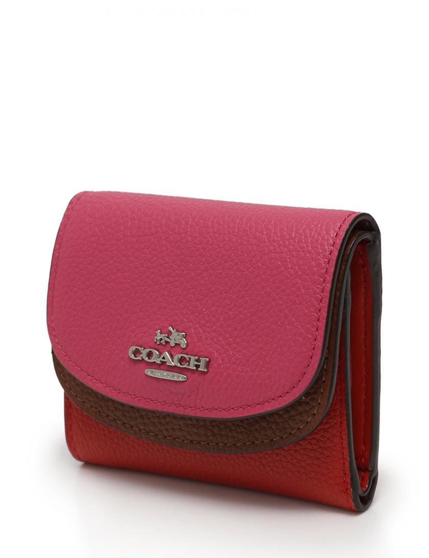 online store 63e59 c83a3 コーチ COACH 財布 三つ折り ダブルフラップ 赤 ピンク 茶色 小物 レザー 紙箱付き レディース