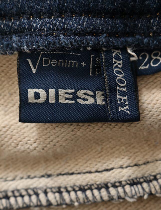ディーゼル DIESEL ジョグジーンズ スウェットデニムパンツ ネイビー 紺 ボトムス 無地 28インチ コットン 綿 ダメージ加工 KROOLEY 0802Q メンズ