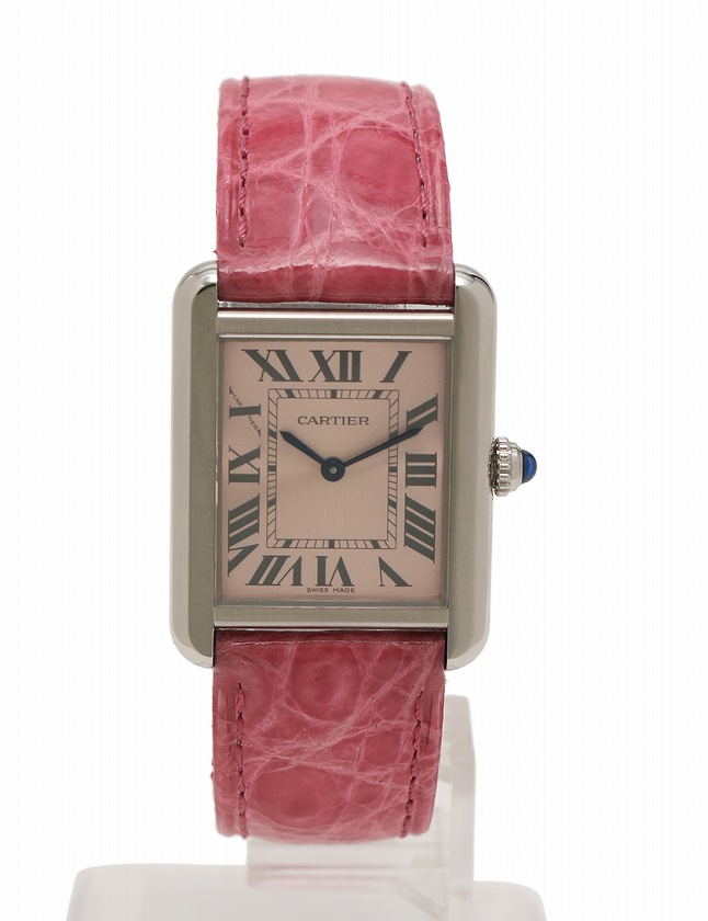 promo code 43755 18bd7 カルティエ Cartier 腕時計 タンクソロ シルバー ピンク クオーツ SS クロコダイルレザー W5200000 ケース 説明書 保証書付き  レディース