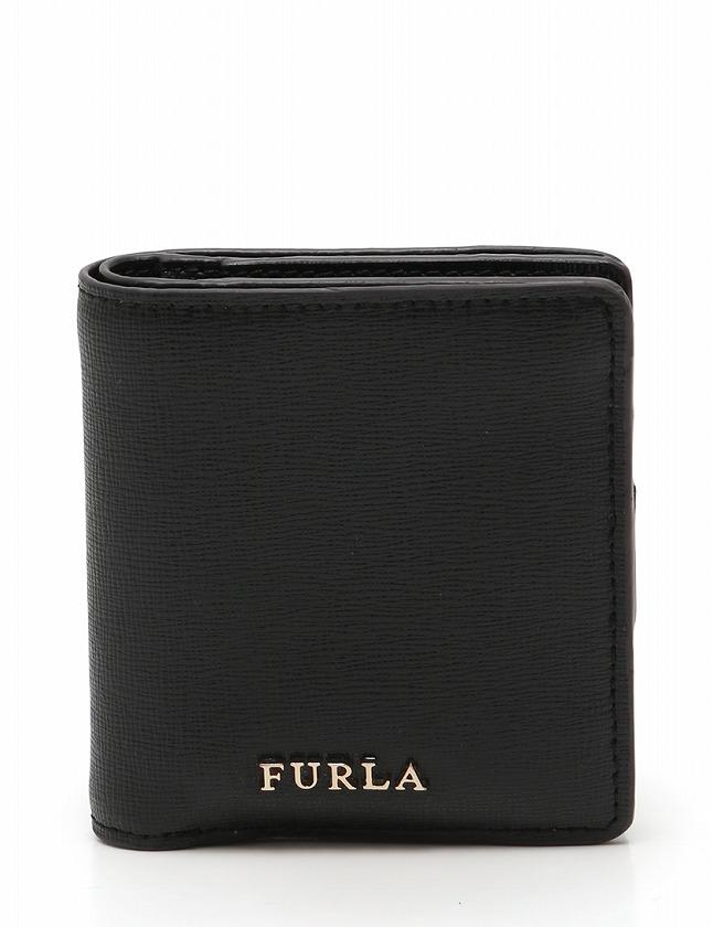 sale retailer 2211b 55b87 フルラ FURLA 財布 二つ折り コンパクトウォレット 黒 ブラック 小物 レザー 箱 保存袋付き レディース