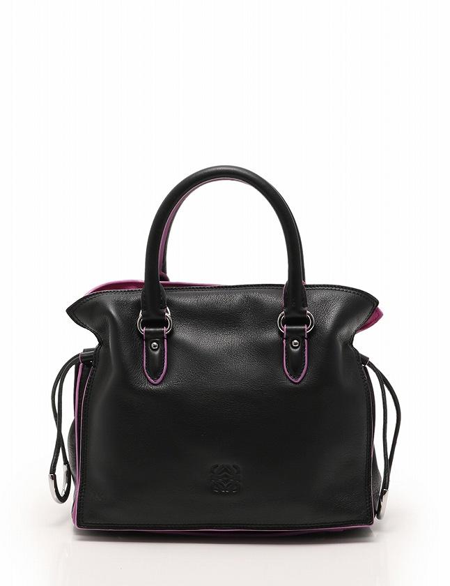 brand new 09574 023ba ロエベ LOEWE ハンドバッグ ショルダーバッグ フラメンコ 23 黒 ブラック ピンク レザー 保存袋付き 2WAY レディース