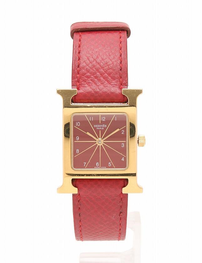 pretty nice 16c36 4d1f0 エルメス HERMES 腕時計 Hウォッチ ゴールド 赤 □A刻印 クオーツ SS クシュベル HH1.201 ケース 保証書付き レディース